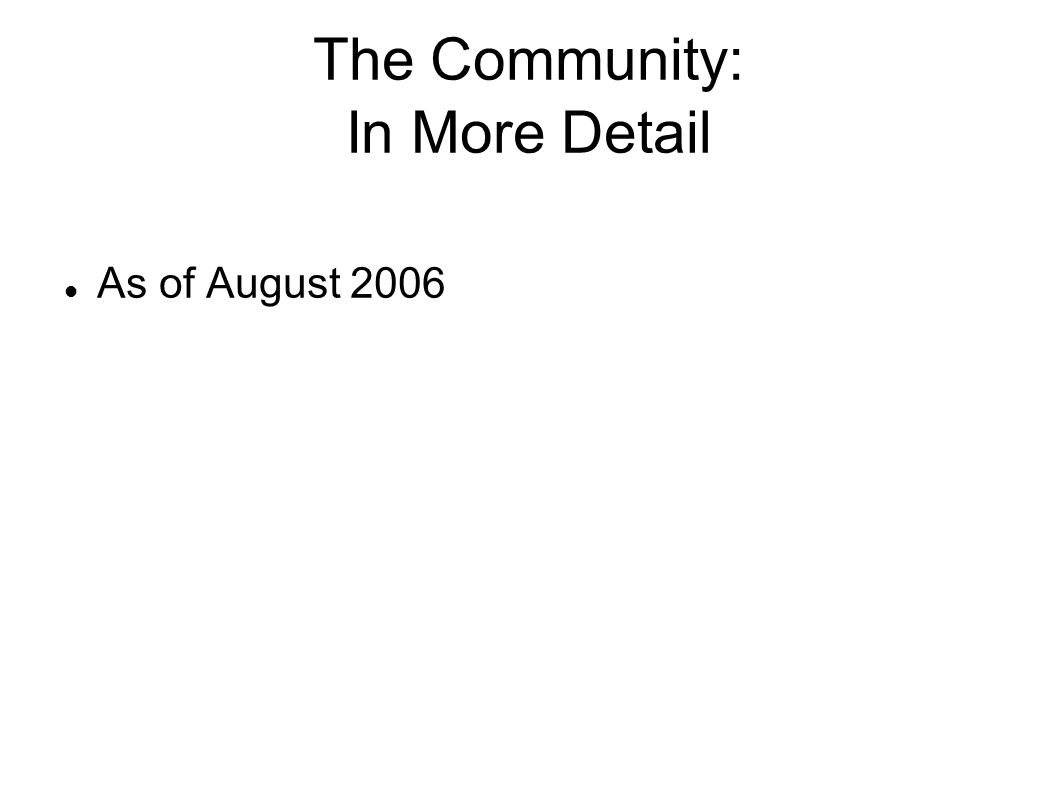 The Community: In More Detail As of August 2006