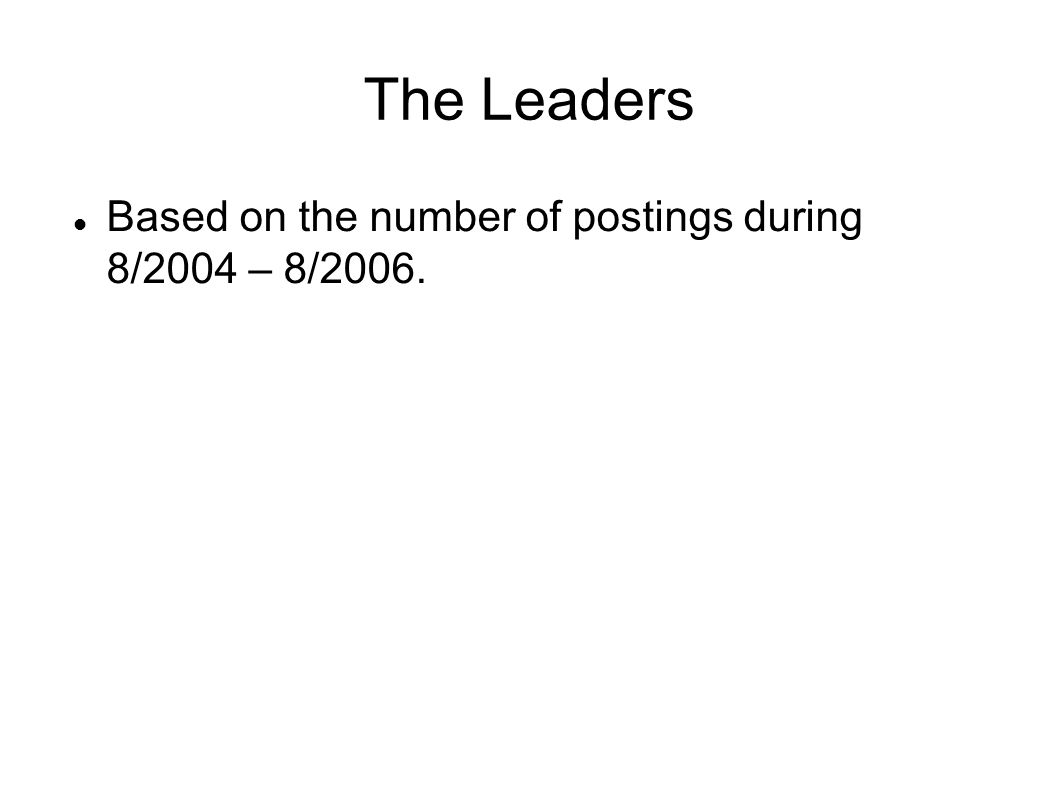 The Leaders Based on the number of postings during 8/2004 – 8/2006.