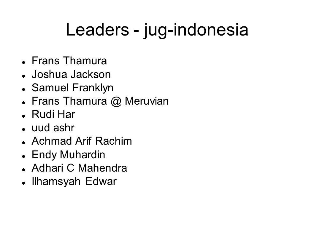 Leaders - jug-indonesia Frans Thamura Joshua Jackson Samuel Franklyn Frans Thamura @ Meruvian Rudi Har uud ashr Achmad Arif Rachim Endy Muhardin Adhar