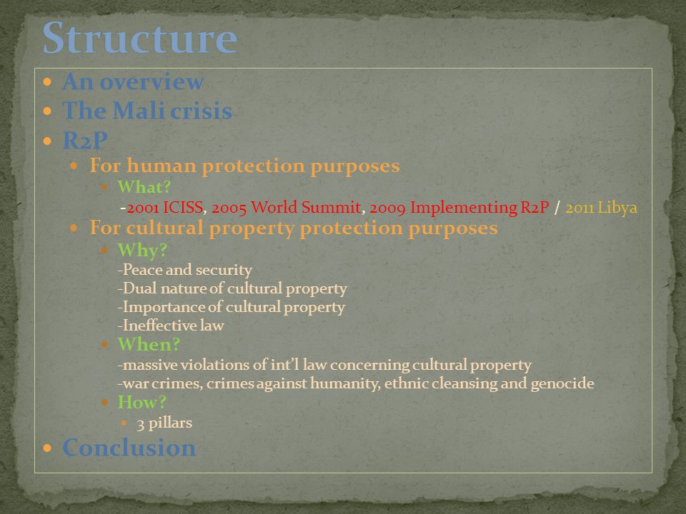 An overview The Mali crisis R2P For human protection purposes What.