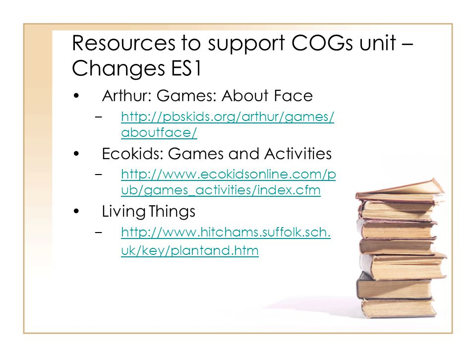 Resources to support COGs unit – Changes ES1 Arthur: Games: About Face –http://pbskids.org/arthur/games/ aboutface/http://pbskids.org/arthur/games/ aboutface/ Ecokids: Games and Activities –http://www.ecokidsonline.com/p ub/games_activities/index.cfmhttp://www.ecokidsonline.com/p ub/games_activities/index.cfm Living Things –http://www.hitchams.suffolk.sch.