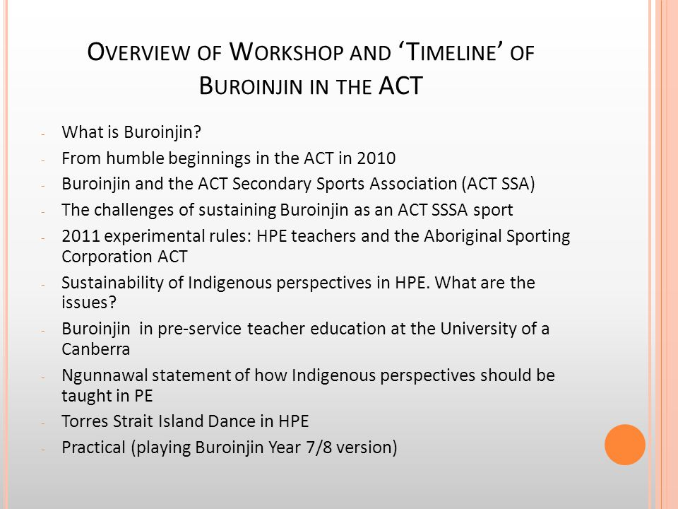 O VERVIEW OF W ORKSHOP AND 'T IMELINE ' OF B UROINJIN IN THE ACT - What is Buroinjin? - From humble beginnings in the ACT in 2010 - Buroinjin and the