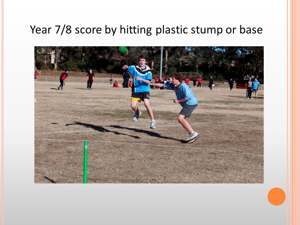 Year 7/8 score by hitting plastic stump or base