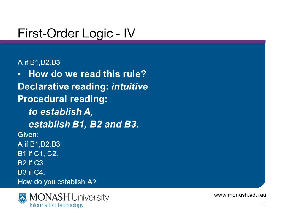 www.monash.edu.au 21 First-Order Logic - IV A if B1,B2,B3 How do we read this rule.