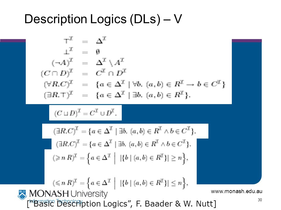 www.monash.edu.au 30 Description Logics (DLs) – V [ Basic Description Logics , F. Baader & W. Nutt]
