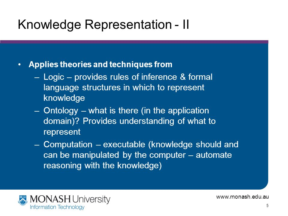 www.monash.edu.au 5 Knowledge Representation - II Applies theories and techniques from –Logic – provides rules of inference & formal language structures in which to represent knowledge –Ontology – what is there (in the application domain).