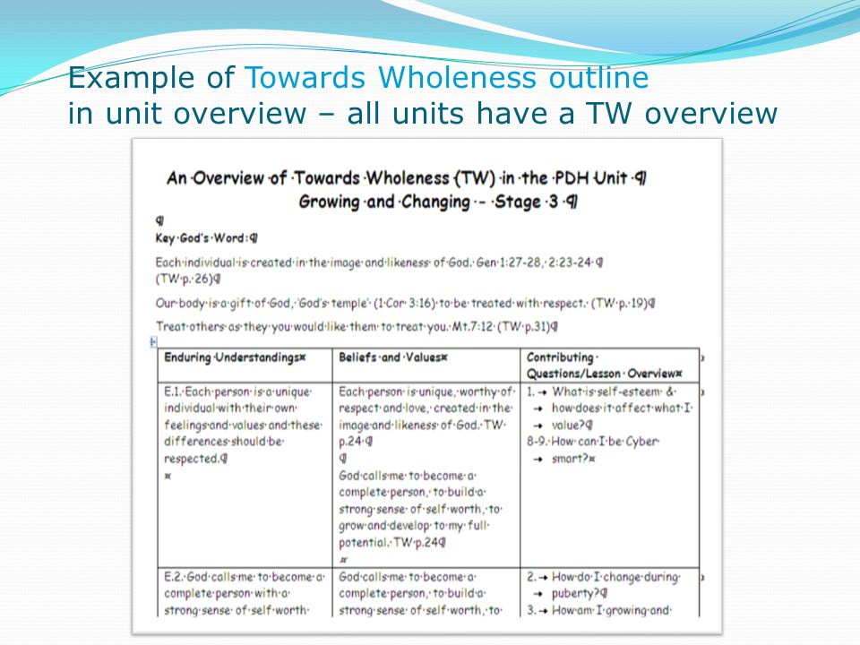 Example of Towards Wholeness outline in unit overview – all units have a TW overview