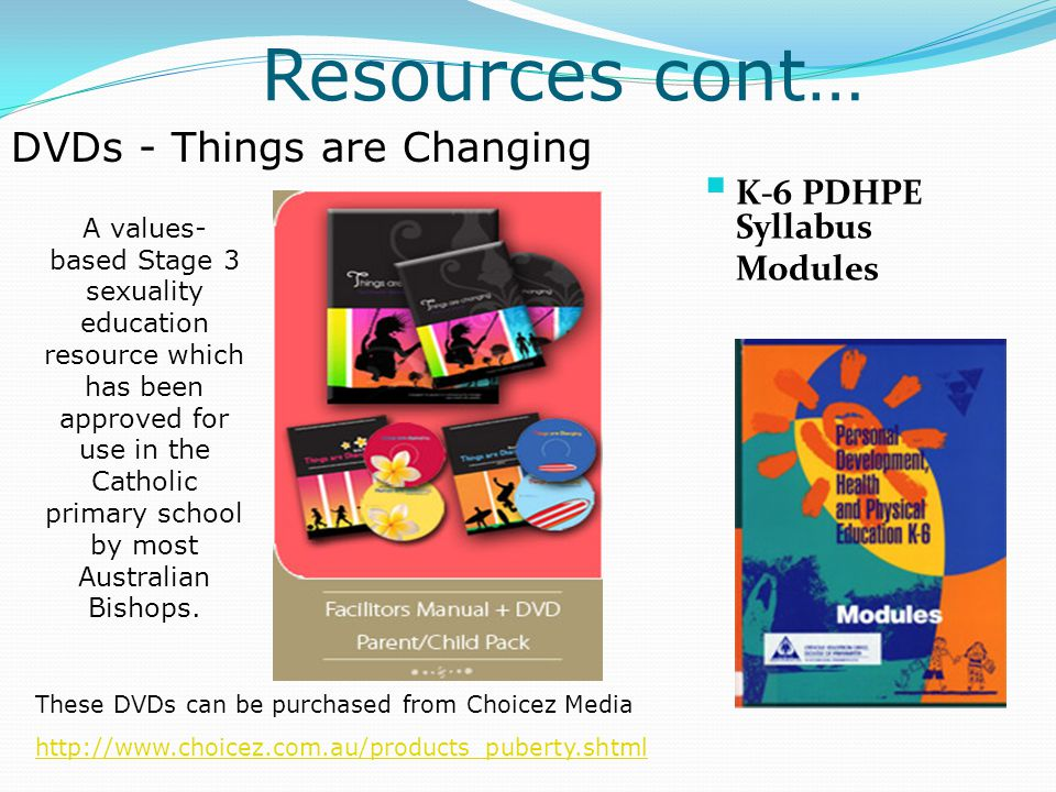 Resources cont… These DVDs can be purchased from Choicez Media http://www.choicez.com.au/products_puberty.shtml  K-6 PDHPE Syllabus Modules A values-