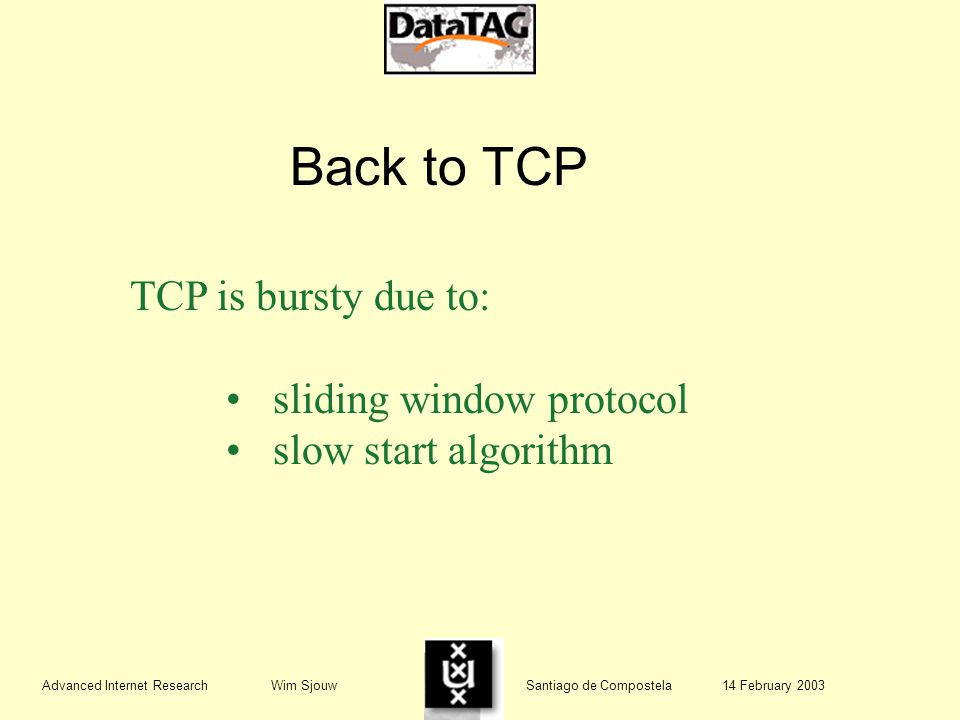 Advanced Internet Research Wim Sjouw Santiago de Compostela 14 February 2003 Back to TCP TCP is bursty due to: sliding window protocol slow start algorithm