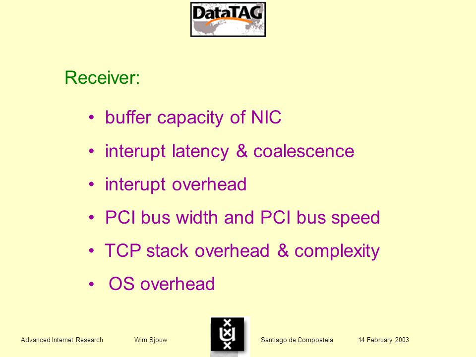 Advanced Internet Research Wim Sjouw Santiago de Compostela 14 February 2003 Receiver: buffer capacity of NIC interupt latency & coalescence interupt overhead PCI bus width and PCI bus speed TCP stack overhead & complexity OS overhead