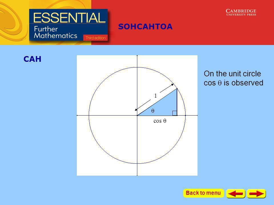 SOHCAHTOA cos  1  CAH Now take a similar triangle