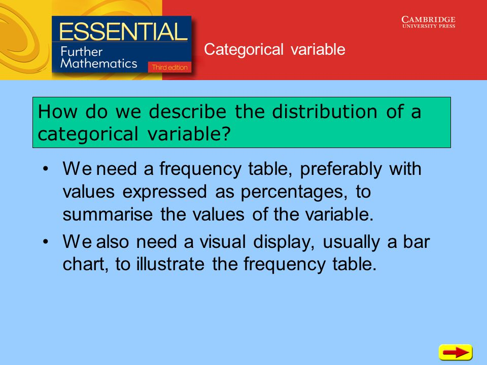 Categorical variable We need a frequency table, preferably with values expressed as percentages, to summarise the values of the variable.