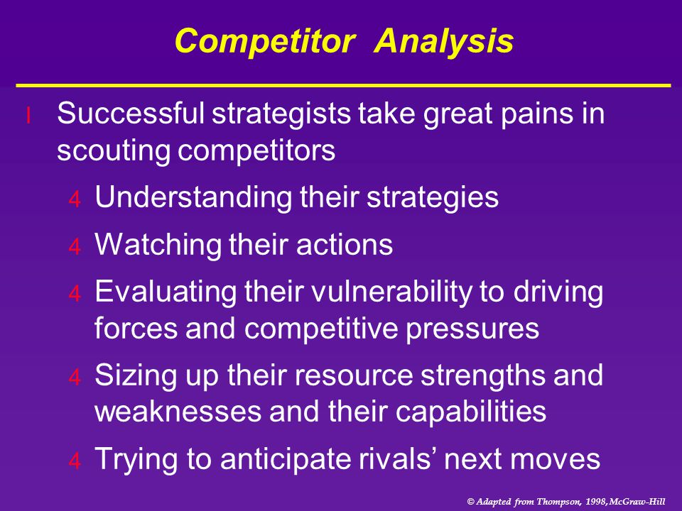 © Adapted from Thompson, 1998, McGraw-Hill Competitor Analysis l Successful strategists take great pains in scouting competitors 4 Understanding their