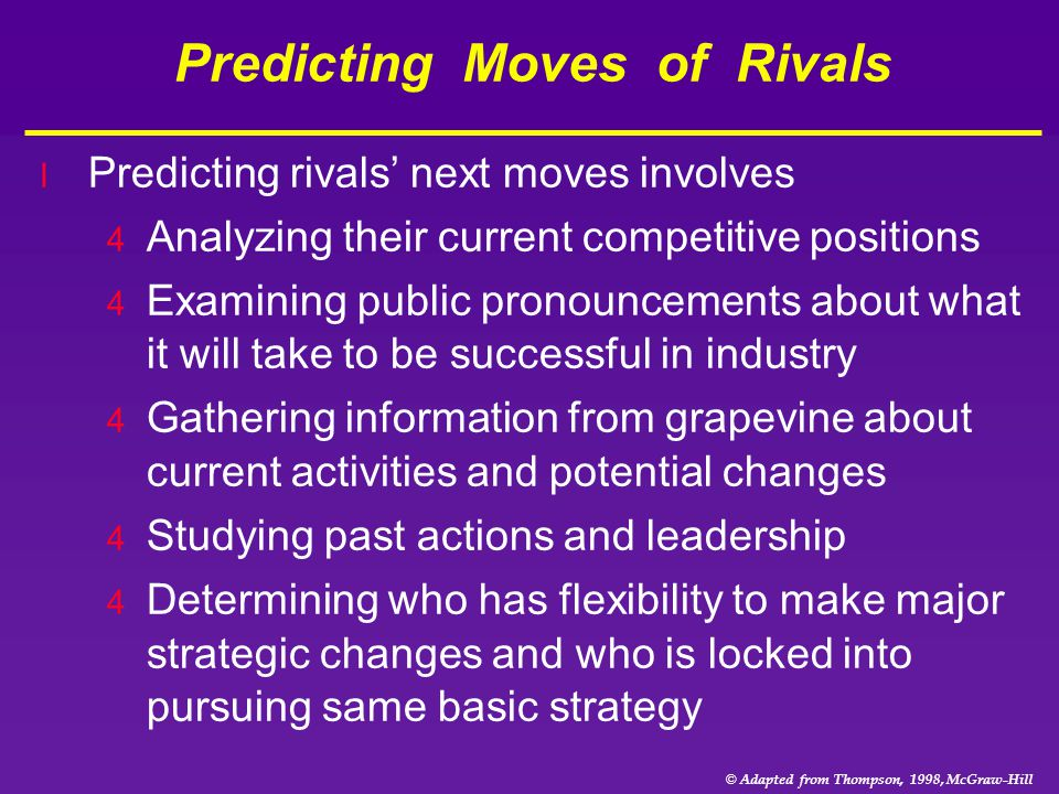 © Adapted from Thompson, 1998, McGraw-Hill Predicting Moves of Rivals l Predicting rivals' next moves involves 4 Analyzing their current competitive p