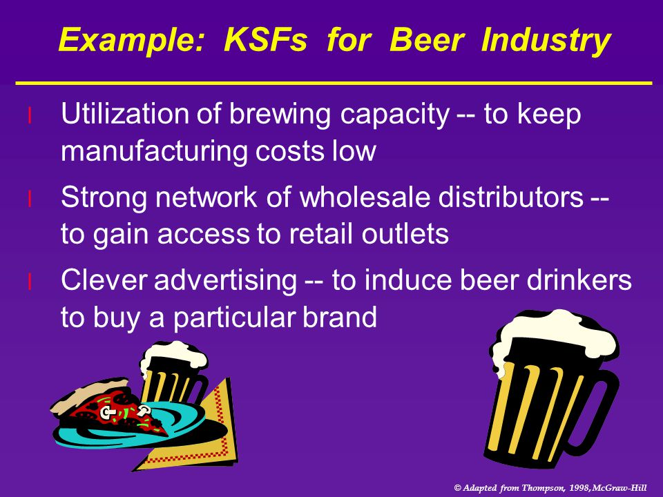 © Adapted from Thompson, 1998, McGraw-Hill Example: KSFs for Beer Industry l Utilization of brewing capacity -- to keep manufacturing costs low l Stro