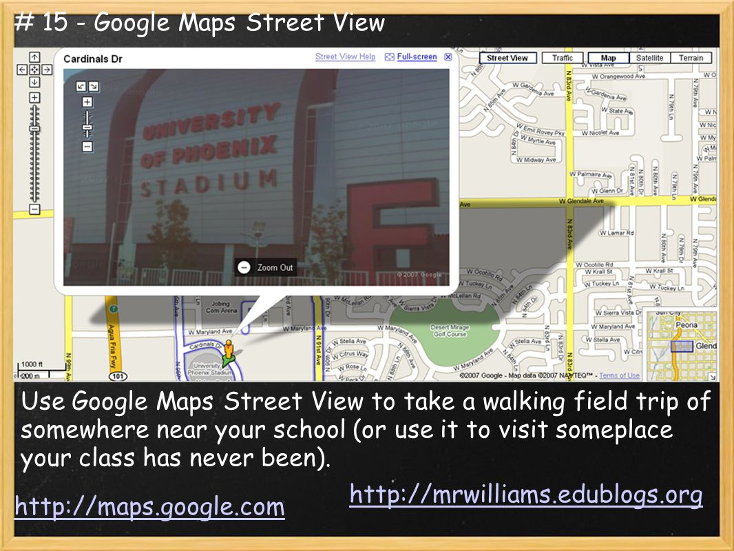 Use Google Maps Street View to take a walking field trip of somewhere near your school (or use it to visit someplace your class has never been).