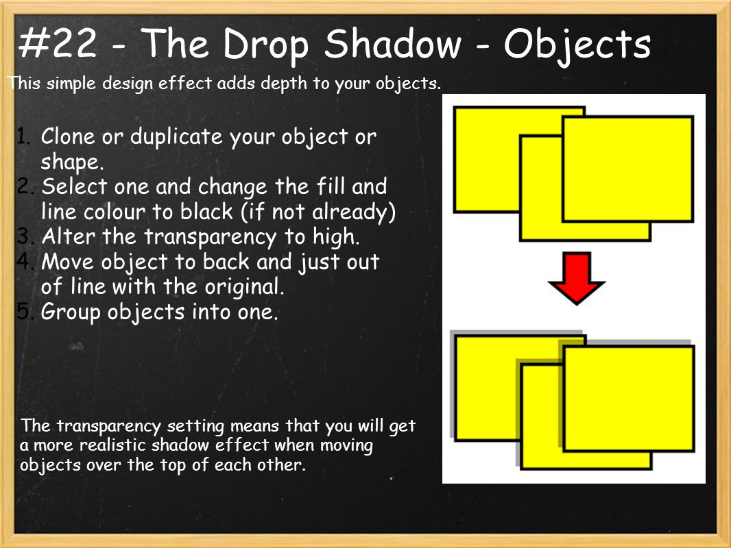 #22 - The Drop Shadow - Objects This simple design effect adds depth to your objects.