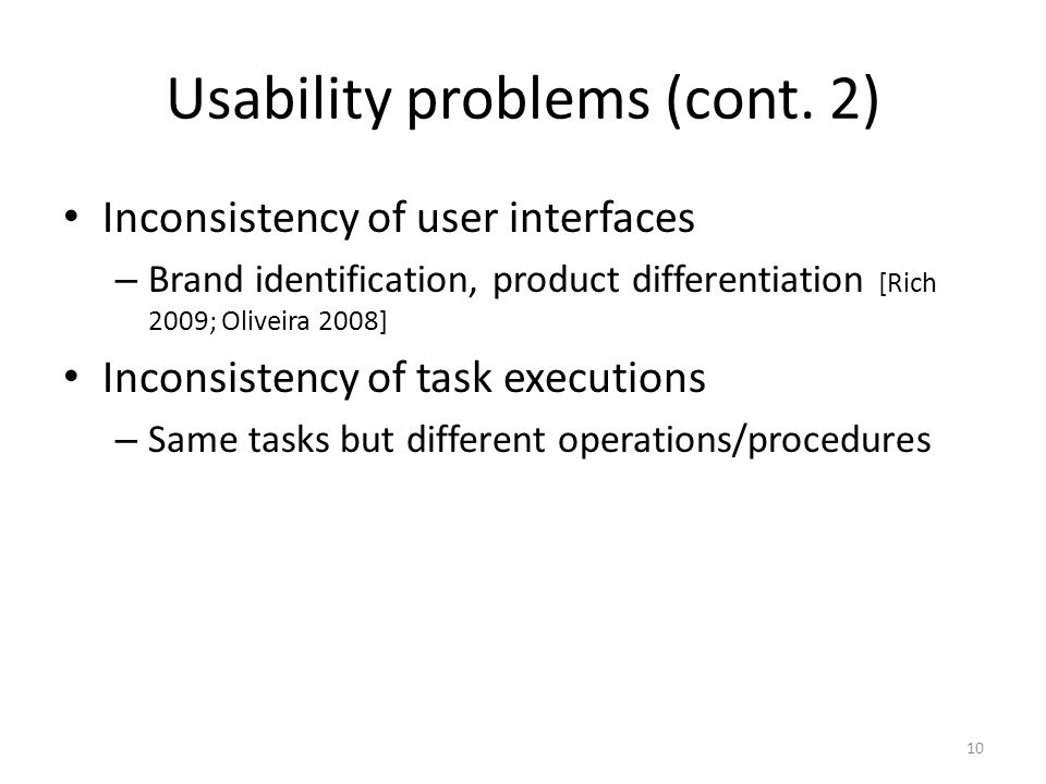 Usability problems (cont.