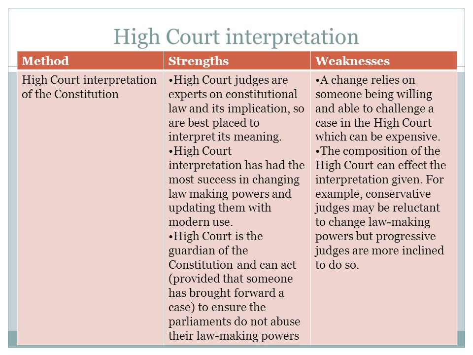High Court interpretation MethodStrengthsWeaknesses High Court interpretation of the Constitution High Court judges are experts on constitutional law and its implication, so are best placed to interpret its meaning.