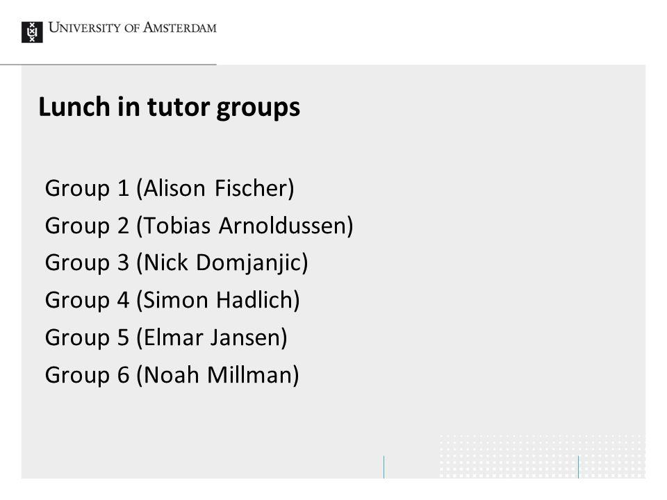 Lunch in tutor groups Group 1 (Alison Fischer) Group 2 (Tobias Arnoldussen) Group 3 (Nick Domjanjic) Group 4 (Simon Hadlich) Group 5 (Elmar Jansen) Group 6 (Noah Millman)