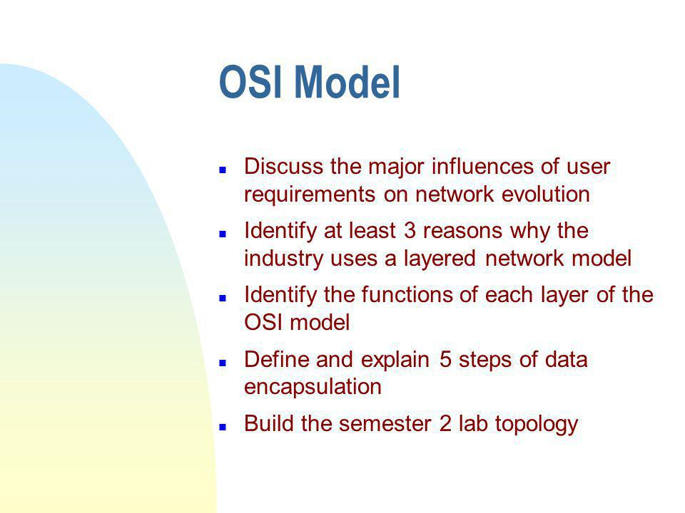 OSI Model n Discuss the major influences of user requirements on network evolution n Identify at least 3 reasons why the industry uses a layered network model n Identify the functions of each layer of the OSI model n Define and explain 5 steps of data encapsulation n Build the semester 2 lab topology