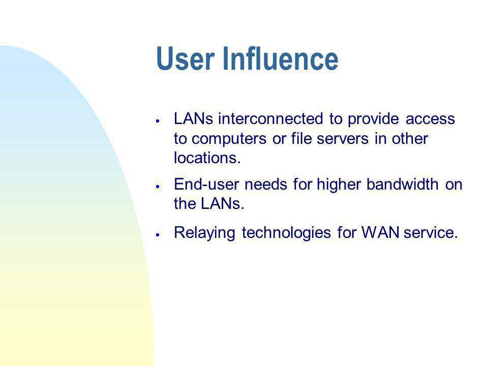 User Influence  LANs interconnected to provide access to computers or file servers in other locations.