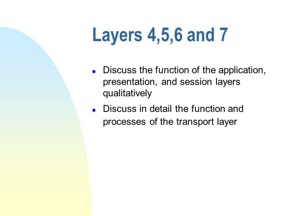 Layers 4,5,6 and 7 n Discuss the function of the application, presentation, and session layers qualitatively n Discuss in detail the function and processes of the transport layer