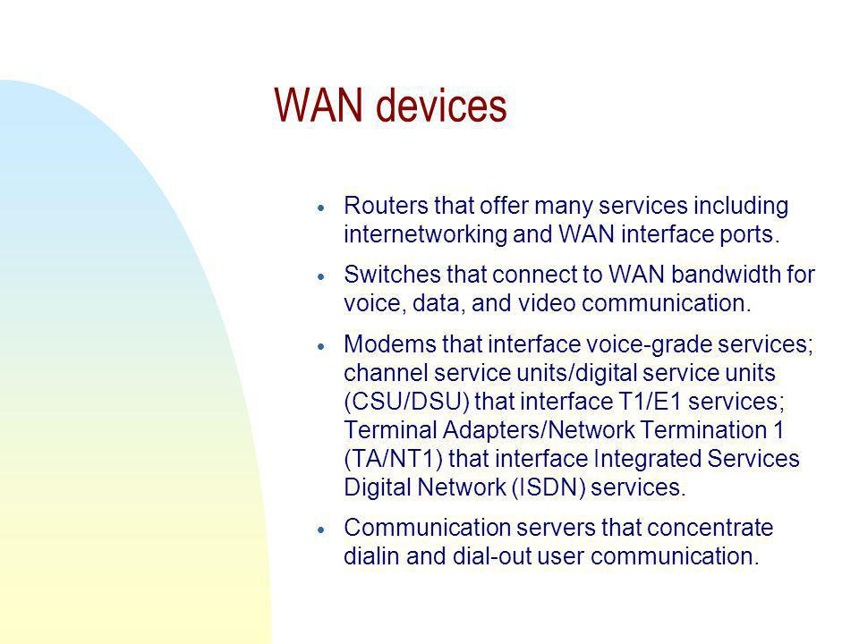 WAN devices  Routers that offer many services including internetworking and WAN interface ports.