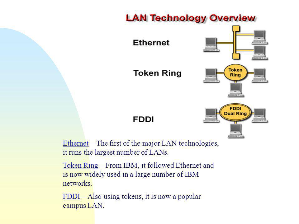 EthernetEthernet—The first of the major LAN technologies, it runs the largest number of LANs.