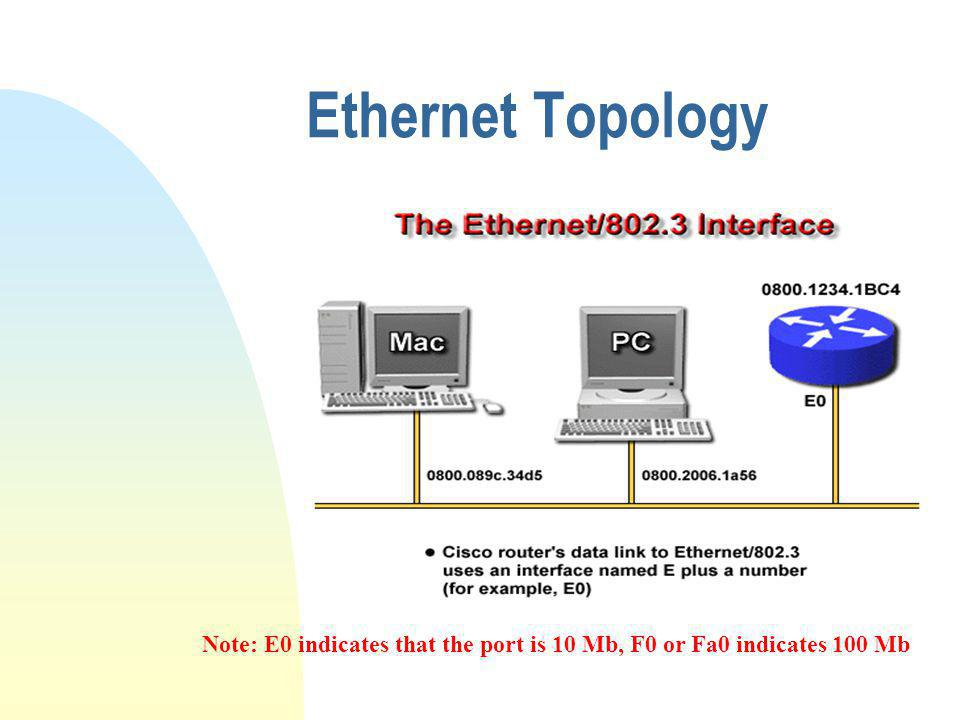 Ethernet Topology Note: E0 indicates that the port is 10 Mb, F0 or Fa0 indicates 100 Mb