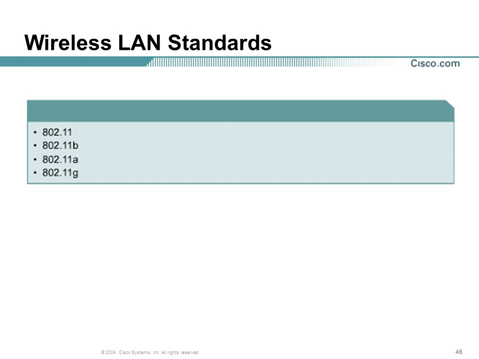 46 © 2004, Cisco Systems, Inc. All rights reserved. Wireless LAN Standards