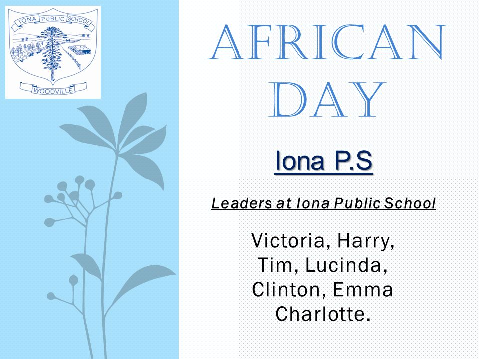 Leaders at Iona Public School Victoria, Harry, Tim, Lucinda, Clinton, Emma Charlotte. AFRICAN DAY Iona P.S
