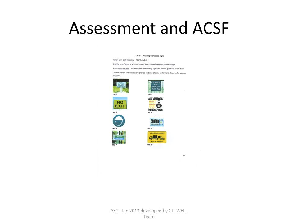 Assessment and ACSF ASCF Jan 2013 developed by CIT WELL Team