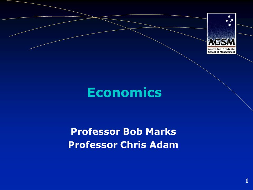 1 Economics Professor Bob Marks Professor Chris Adam