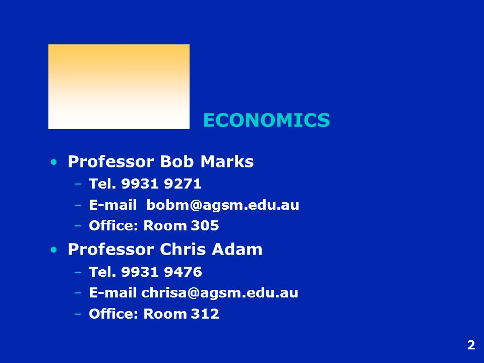 2 ECONOMICS Professor Bob Marks –Tel. 9931 9271 –E-mail bobm@agsm.edu.au –Office: Room 305 Professor Chris Adam –Tel. 9931 9476 –E-mail chrisa@agsm.ed