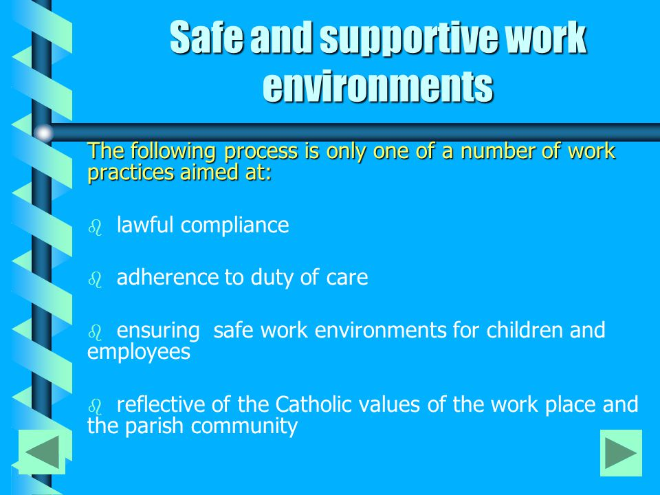 Safe and supportive work environments The following process is only one of a number of work practices aimed at: b b lawful compliance b b adherence to duty of care b b ensuring safe work environments for children and employees b b reflective of the Catholic values of the work place and the parish community