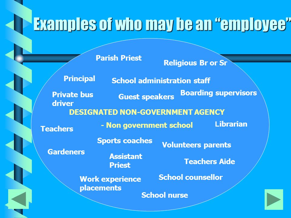 Examples of who may be an employee DESIGNATED NON-GOVERNMENT AGENCY - Non government school Principal Teachers Parish Priest Assistant Priest Volunteers parents Religious Br or Sr Teachers Aide Gardeners Boarding supervisors L ibrarian School administration staff School nurse Private bus driver Work experience placements Sports coaches Guest speakers School counsellor