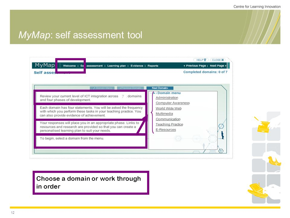 12 MyMap: self assessment tool Choose a domain or work through in order 7