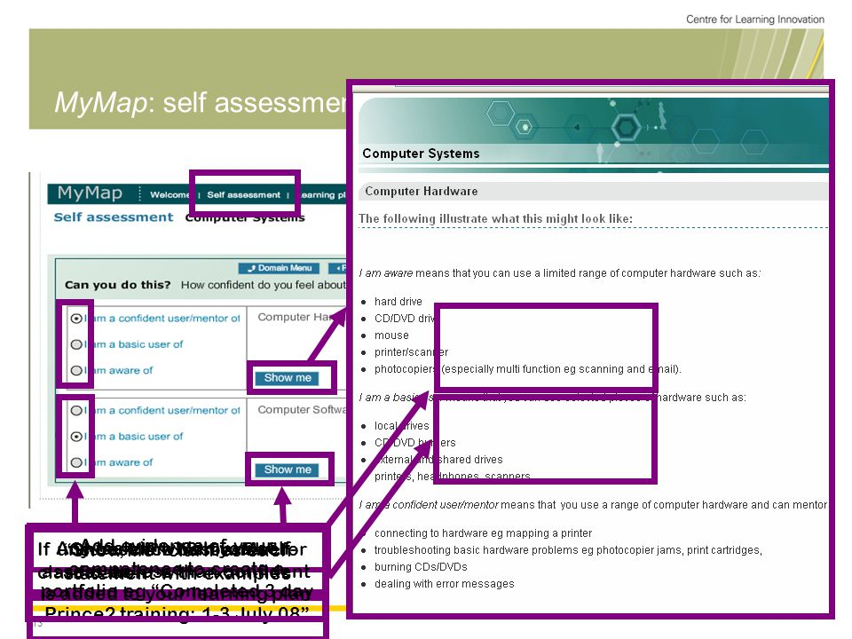 13 MyMap: self assessment tool (Questions) Choose the best answer If unsure, click Show Me for clarification Show Me clarifies each statement with examples Add evidence of your competence to create a portfolio eg Completed 3 day Prince2 training: 1-3 July 08 Any task in which you self- assess as less than confident is added to your learning plan