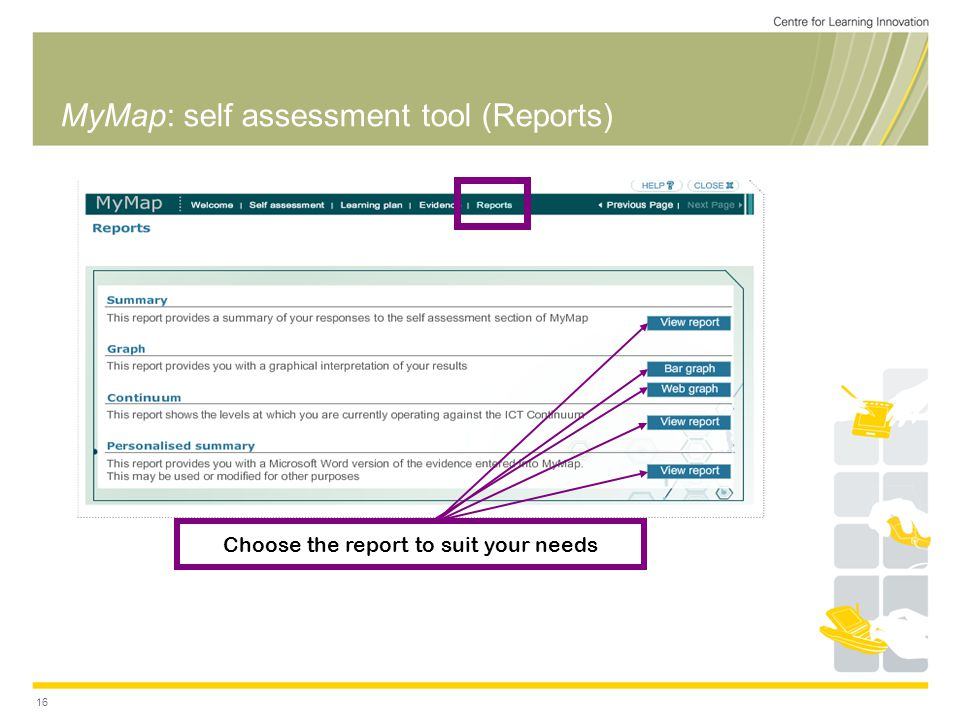 16 MyMap: self assessment tool (Reports) Choose the report to suit your needs