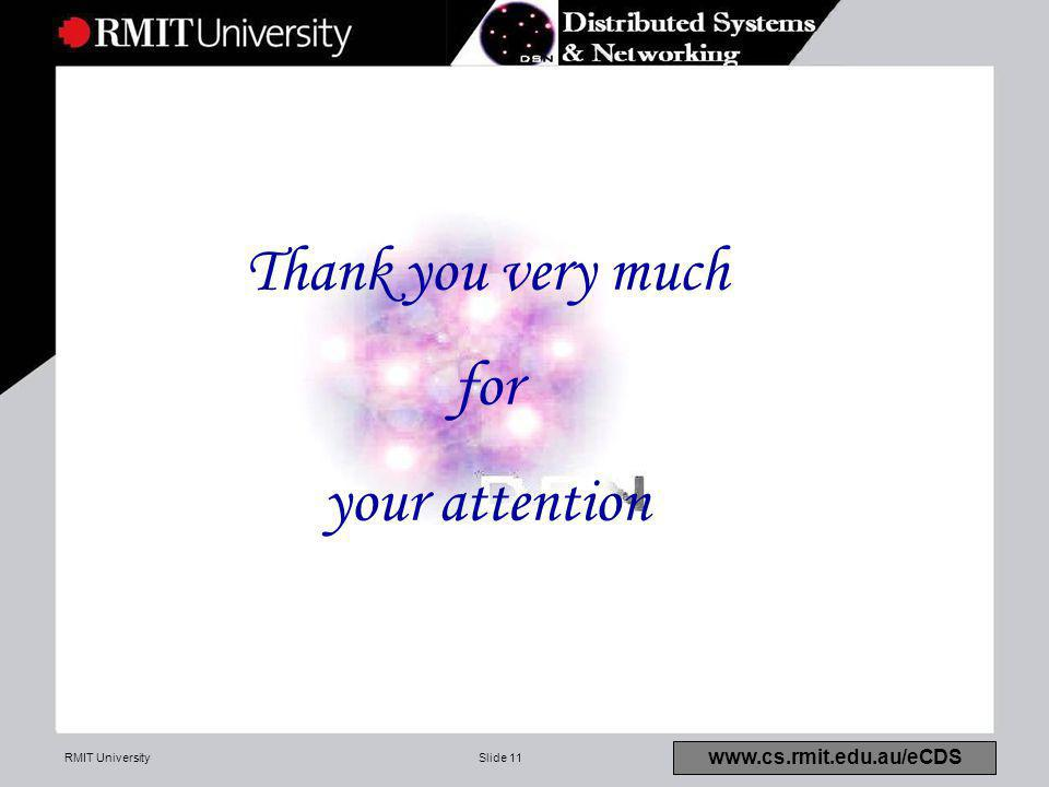 RMIT UniversitySlide 11 www.cs.rmit.edu.au/eCDS Thank you very much for your attention