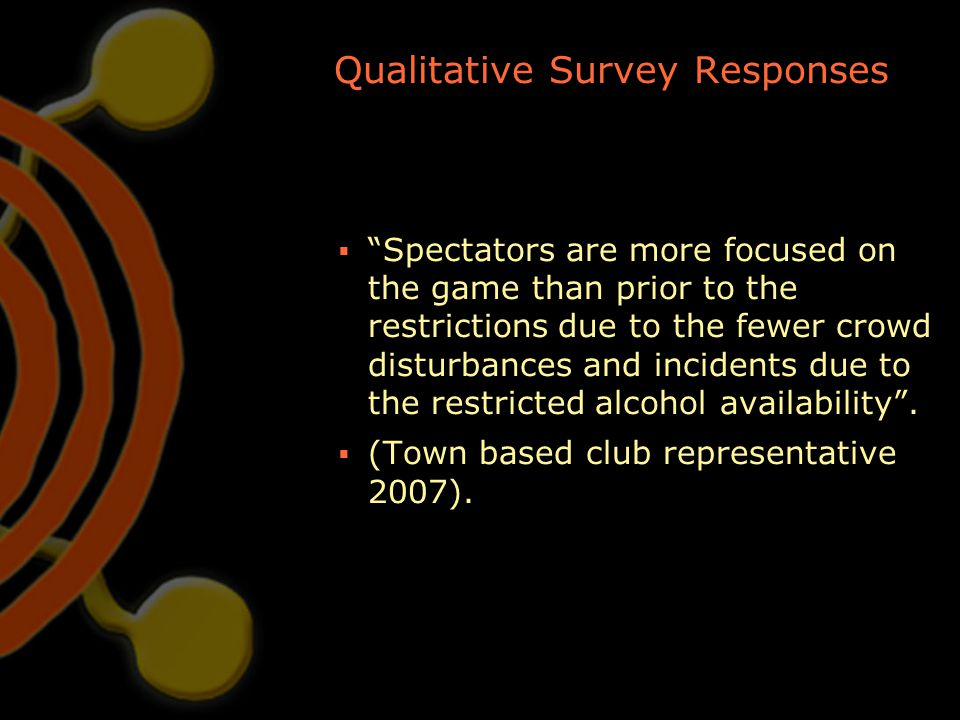 """Qualitative Survey Responses  """"Spectators are more focused on the game than prior to the restrictions due to the fewer crowd disturbances and inciden"""