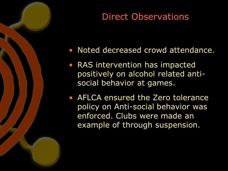 Direct Observations Noted decreased crowd attendance. RAS intervention has impacted positively on alcohol related anti- social behavior at games. AFLC