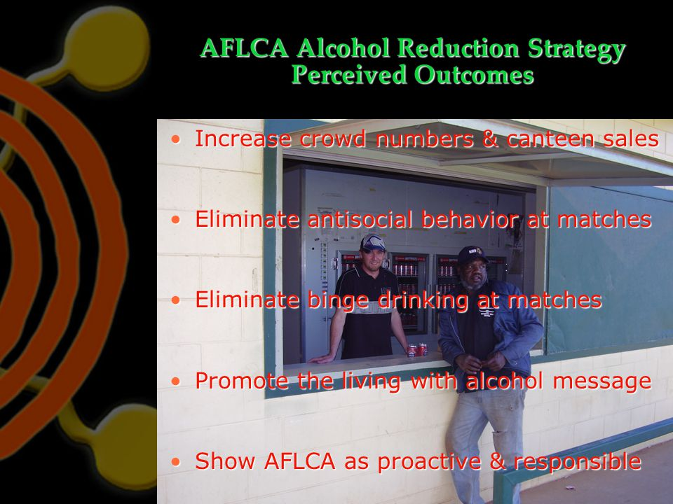 AFLCA Alcohol Reduction Strategy Perceived Outcomes Increase crowd numbers & canteen salesIncrease crowd numbers & canteen sales Eliminate antisocial