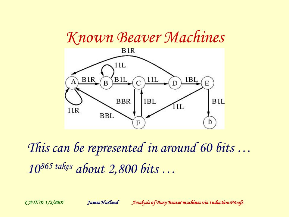 CATS'07 1/2/2007James Harland Analysis of Busy Beaver machines via Induction Proofs Known Beaver Machines This can be represented in around 60 bits … 10 865 takes about 2,800 bits …