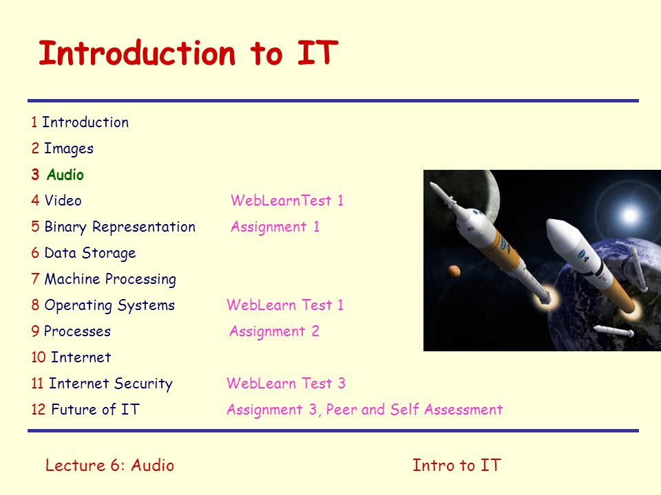 Lecture 6: AudioIntro to IT Introduction to IT 1 Introduction 2 Images 3 Audio 4 Video WebLearnTest 1 5 Binary Representation Assignment 1 6 Data Stor