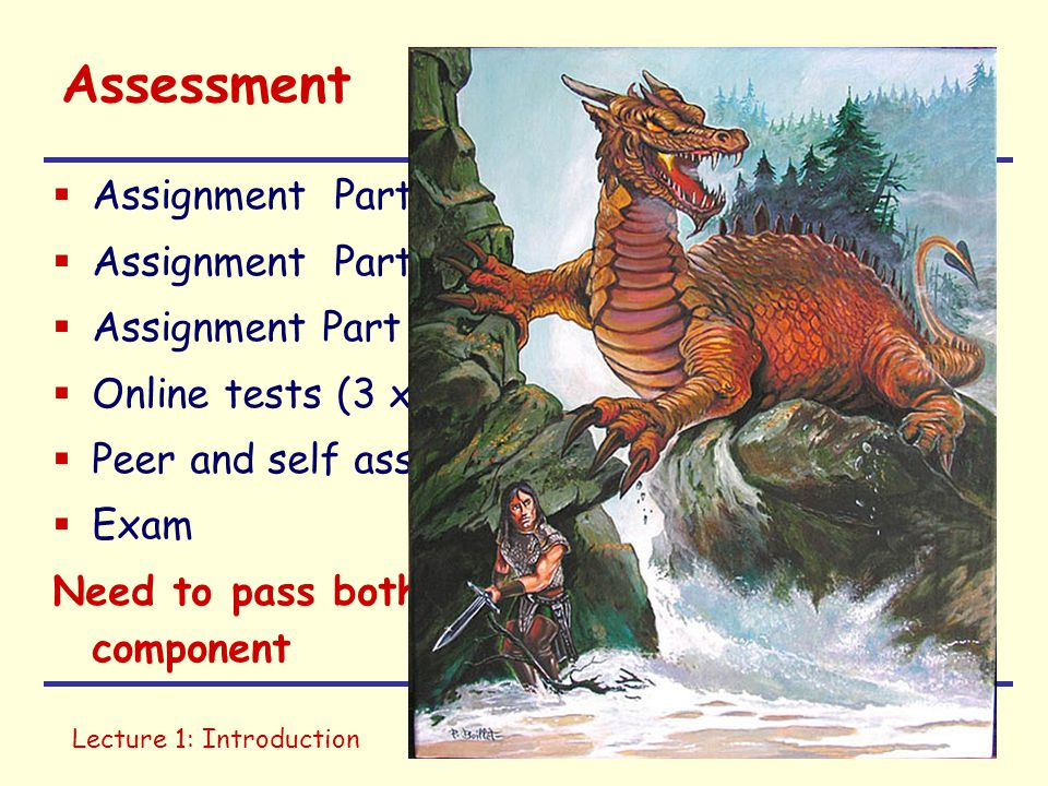 Lecture 1: IntroductionIntro to IT Assessment  Assignment Part1 (Images & Audio) 10%  Assignment Part 2 (Hardware) 10%  Assignment Part 3 (Research and Reflect) 20%  Online tests (3 x 5%, 2 best) 10%  Peer and self assessment 10%  Exam 40% Need to pass both exam and assignment component