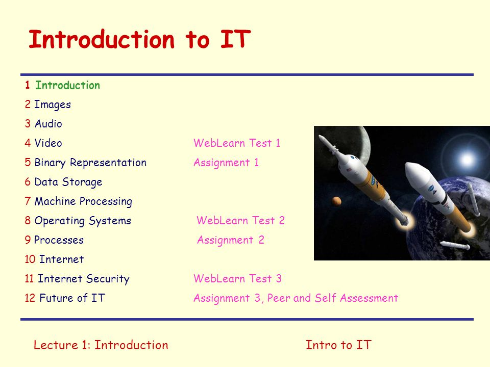Lecture 1: IntroductionIntro to IT Introduction to IT 1 Introduction 2 Images 3 Audio 4 Video WebLearn Test 1 5 Binary Representation Assignment 1 6 Data Storage 7 Machine Processing 8 Operating Systems WebLearn Test 2 9 Processes Assignment 2 10 Internet 11 Internet Security WebLearn Test 3 12 Future of ITAssignment 3, Peer and Self Assessment