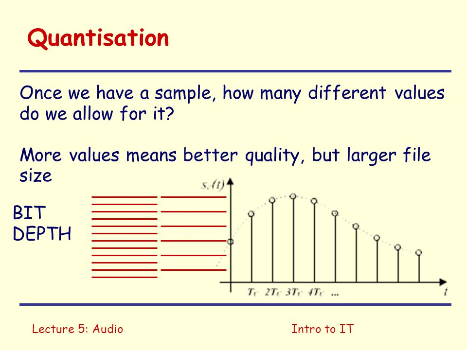 Lecture 5: AudioIntro to IT Quantisation Once we have a sample, how many different values do we allow for it? More values means better quality, but la