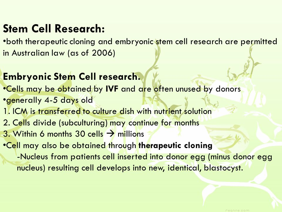 Stem Cell Research: both therapeutic cloning and embryonic stem cell research are permitted in Australian law (as of 2006) Embryonic Stem Cell research.